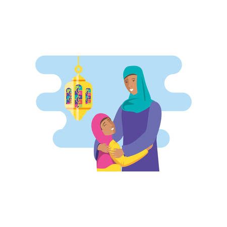 islamic mother with daughter with lantern hanging vector illustration design