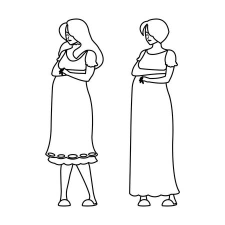 couple of beautiful pregnancy women characters vector illustration design Stok Fotoğraf - 124832216