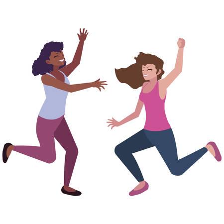 happy young interracial women celebrating vector illustration design Foto de archivo - 124832374