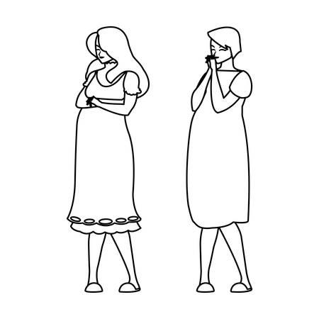 couple of beautiful pregnancy women characters vector illustration design Stok Fotoğraf - 124833646