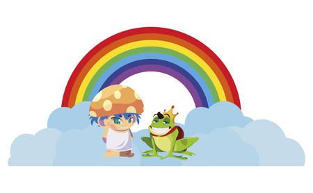 toad prince and fungu elf with rainbow vector illustration design Иллюстрация