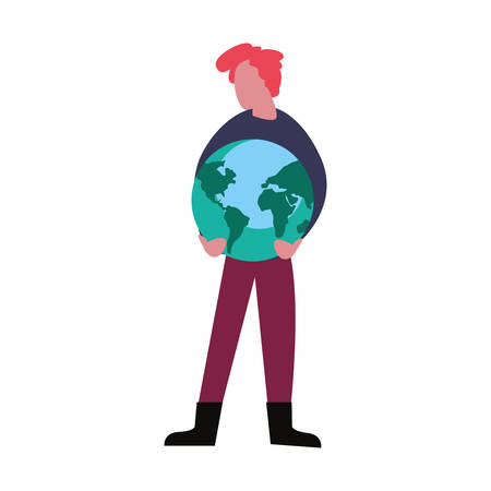 man with planet world happy earth day vector illustration Ilustrace
