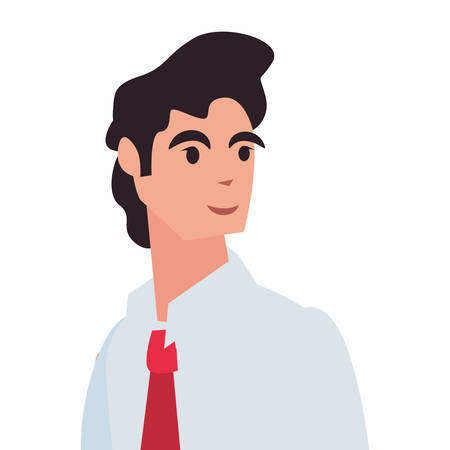 businessman character avatar with necktie vector illustration