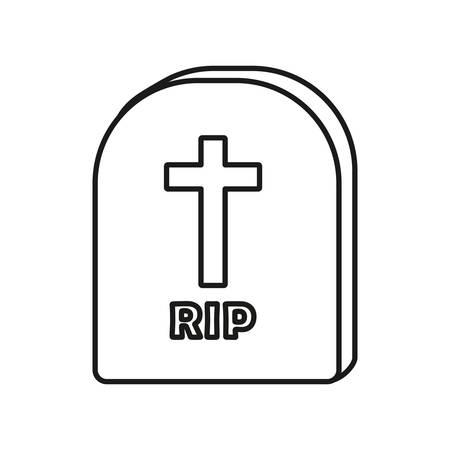 nagrobek ikona na białym tle, ilustracji wektorowych