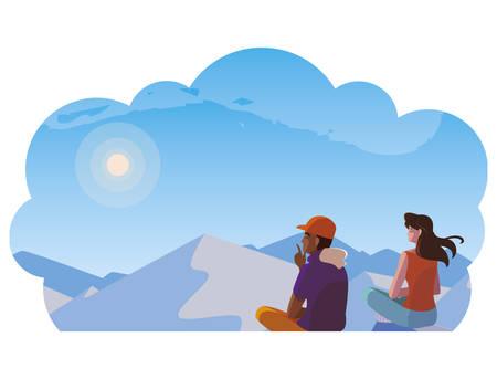 couple contemplating horizon in snowscape scene vector illustration design Çizim