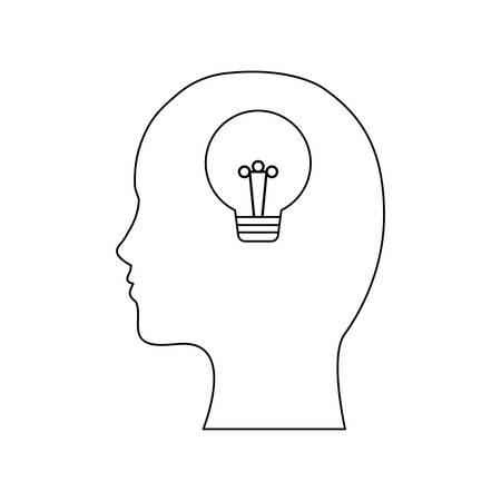 profile silhouette with light bulb idea vector illustration design Illustration