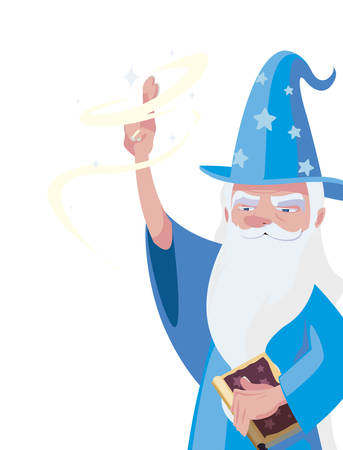witch and wizard of tales characters vector illustration design Çizim