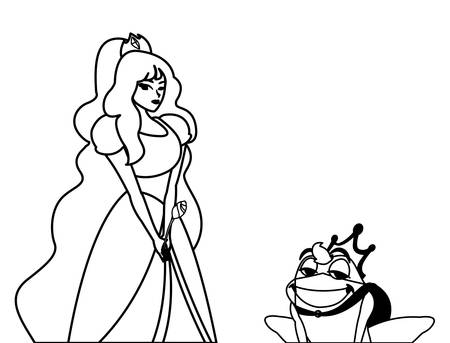 beautiful princess and toad prince of tales character vector illustration design