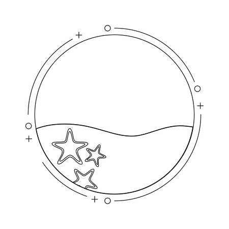sea in frame circular with starfishes vector illustration design