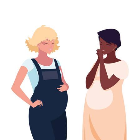 interracial couple of pregnancy women characters vector illustration design