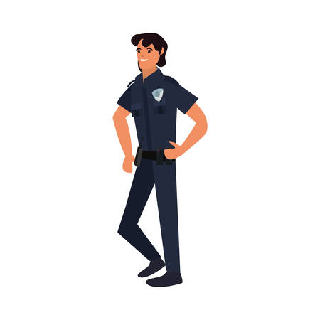 policeman character uniform on white background vector illustration