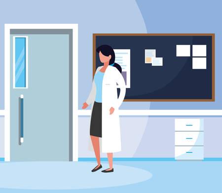 female medicine worker in hospital corridor vector illustration design Иллюстрация
