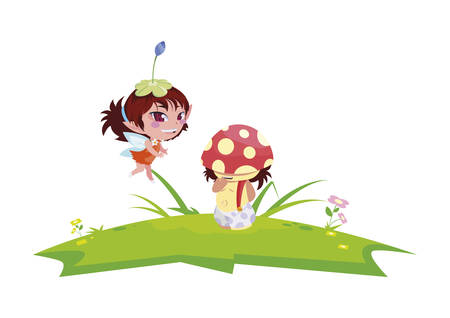beautiful magic fairy and fungu elf in the garden vector illustration design Banque d'images - 124790711