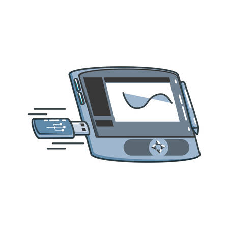graphic tablet with usb memory vector illustration design
