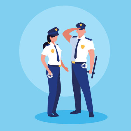 couple of polices officers avatar character vector illustration design