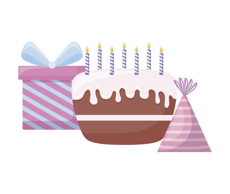 sweet cake with gift box and hat party vector illustration design 일러스트