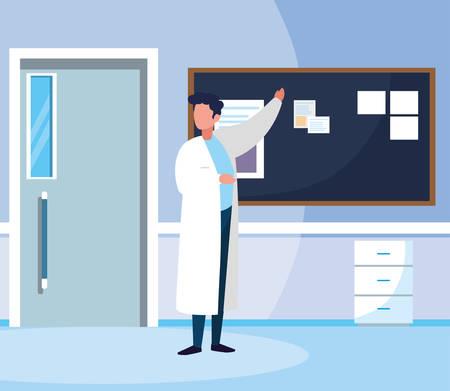 male medicine worker in hospital corridor vector illustration design