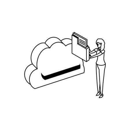 businesswoman with cloud computing and folder vector illustration design Illustration