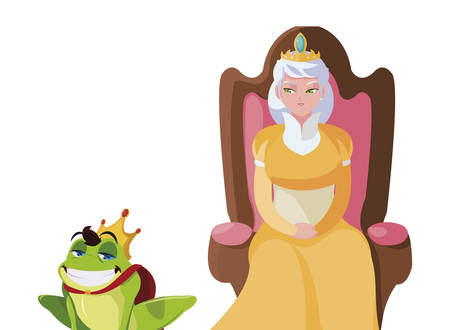 queen on throne with toad prince characters vector illustration design Иллюстрация