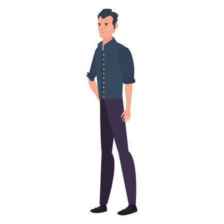 man with casual clothes standing character on white background vector illustration
