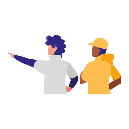 adventurous couple avatar character vector illustration design Иллюстрация