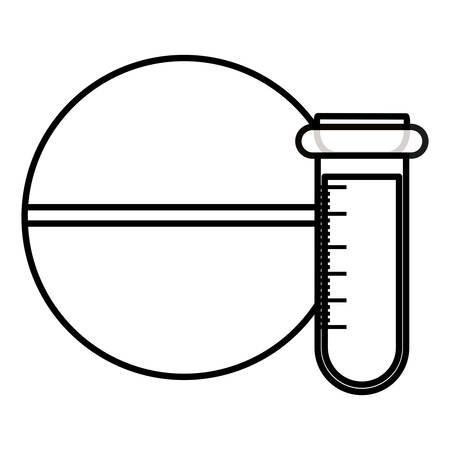 medical tube test with pill vector illustration design