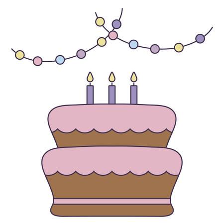 sweet cake of birthday isolated icon vector illustration design 일러스트
