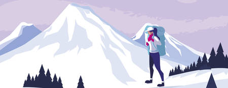 adventurous woman with travelbag in the snowscape vector illustration design Çizim