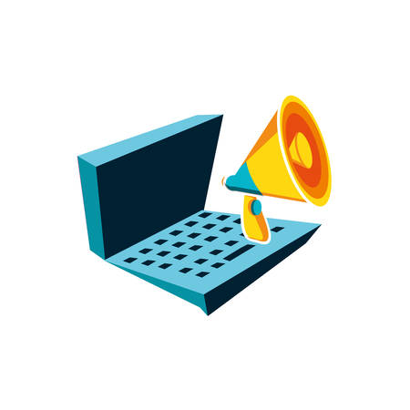 megaphone with laptop computer vector illustration design
