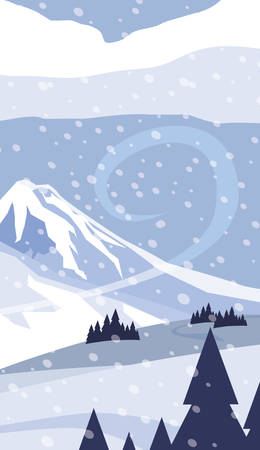 mountains with forest pines snowscape scene vector illustration design Çizim