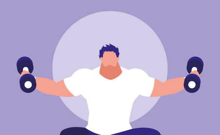young man lifting dumbbells avatar character vector illustration design Imagens - 124884074