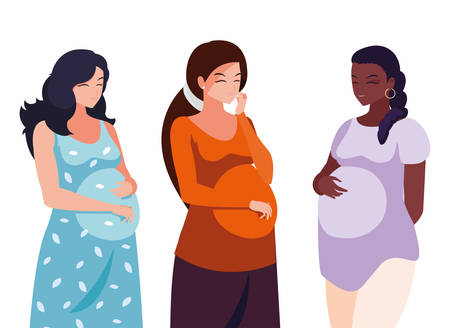 interracial group of pregnancy women characters vector illustration design