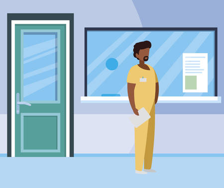 afro male medicine worker in hospital reception vector illustration design