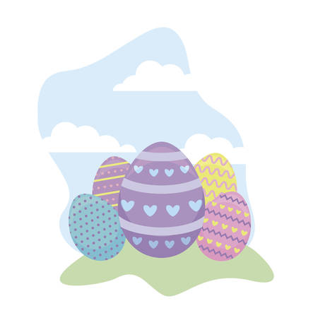 set of decorated eggs easter in grass vector illustration design
