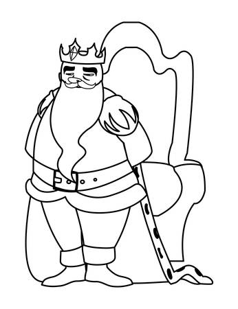 king on throne character vector illustration design