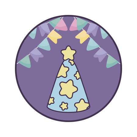 party hat decorative in frame circular with garlands hanging vector illustration design