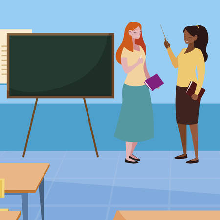 interracial female teachers in the classroom characters vector illustration design