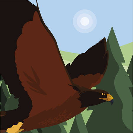 beautiful eagle flying in the landscape majestic bird vector illustration design Ilustrace