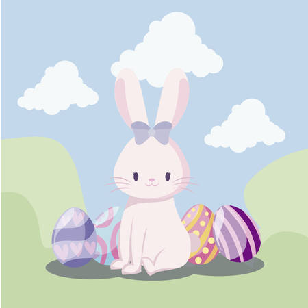 cute rabbit female with eggs of easter in landscape vector illustration design