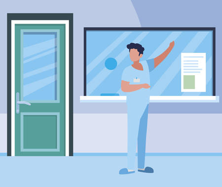 male medicine worker with uniform in hospital reception vector illustration design