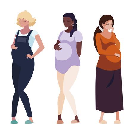 interracial group of pregnancy women characters vector illustration design Stock Vector - 124986292