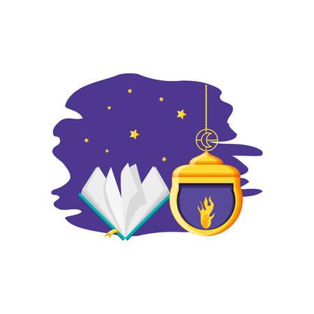 Ramadan Kareem lamp with koran book vector illustration design Фото со стока - 124986297