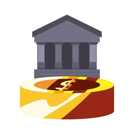 bank coin money saving commerce vector illustration