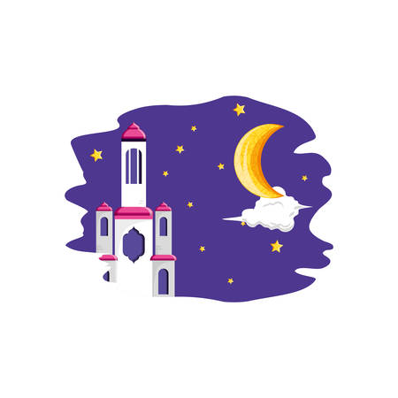 mosque castle at night ramadan kareem vector illustration design Фото со стока - 124986469