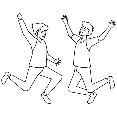 happy young men celebrating characters vector illustration design Archivio Fotografico - 124980791