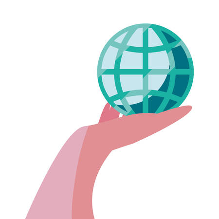 hand with world trade vector illustration design