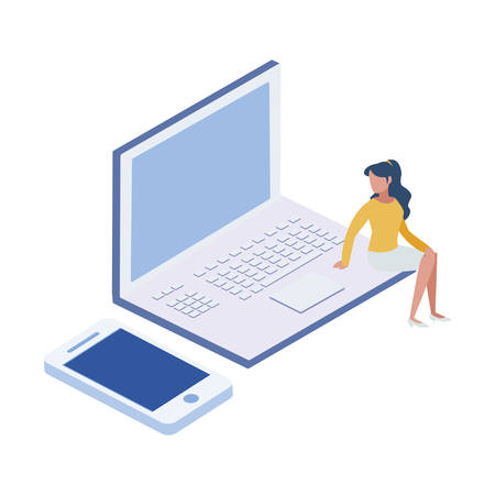 laptop computer with minipeople workers vector illustration design 일러스트