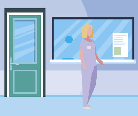 female medicine worker in hospital reception vector illustration design