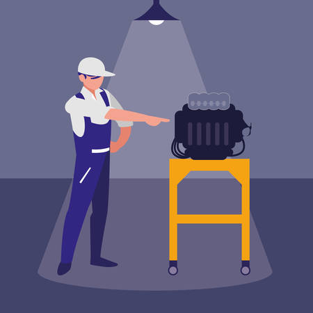 mechanic worker with car engine vector illustration design Ilustração