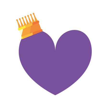 love romantic heart crown vector illustration design